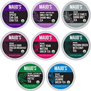 Maud's 8 Blend Organic Tea Variety Pack 48ct. Variety Green Tea, Black Tea, Herbal Tea, Peppermint Tea, Chai Tea, Matcha T...