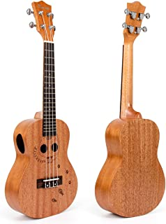 Ukulele Concert Mahogany Ukelele Uke 23 inch 4 String Hawaii Guitar Bridge Carved Cat by Kmise