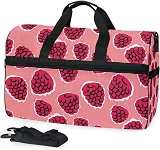 Mens Womens Duffle Bag Mulberry Pink Travel Weekender Swim Bags with Shoes Compartment 45L
