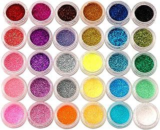 Pro 30 Colour Glitter Dust Powder Beads Uv Gel Polish Nail Art Tip Design Tool
