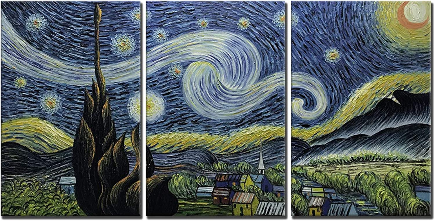 Amei Art Paintings,20''30'' 3 Piece Hand-Painted on Canvas bluee Starry Night Van Gogh Famous Abstract Oil Painting Reproduction Art Modern Home Decor Wall Art Wood Inside Framed Ready to Hang