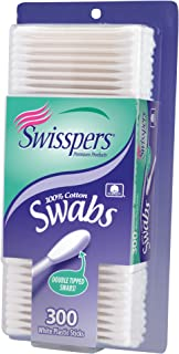 Swisspers Cotton Swabs, 100% Cotton Double-Tipped, White Plastic Sticks, 300 Count Package