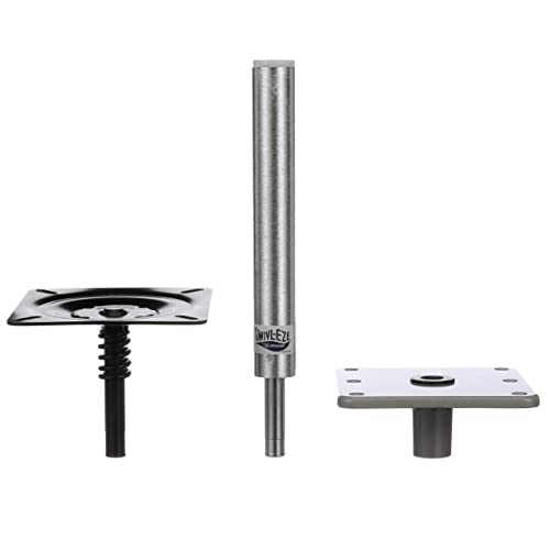 Attwood 97749-7 Swivl-Eze Lock'N-Pin ¾-Inch Pedestal Package, Brushed Aluminum Finish, 11 Inches Tall, 7-Inch x 7-Inch Base Plate