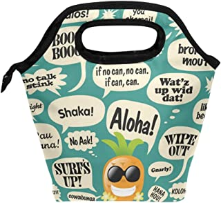 Lunch Bag Hawaiian Pineapple Aloha Printed Neoprene Tote Reusable Insulated Gourmet Lunchbox Container Organizer School Picnic Carrying For Men, Women, Adults, Kids, Girls, Boys