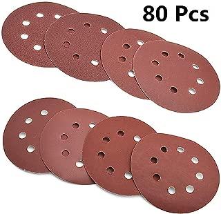 80 Pcs Abrasive Sanding Discs Paper Pads 5 Inch 8 Holes,1000/800/400/320/240/180/120/100 Grit Hoop and Loop Sandpapers for Random Orbital Sander
