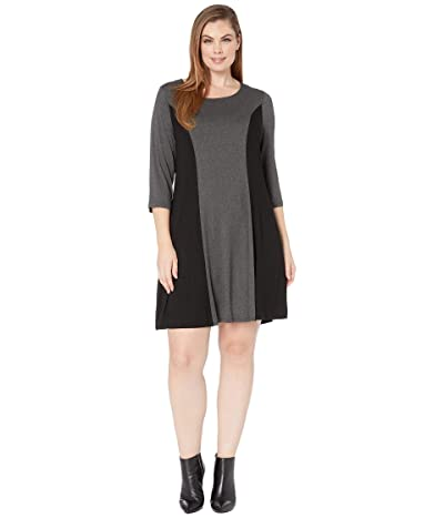 Karen Kane Plus Plus Size 3/4 Sleeve Color Block Dress (Dark Heather Grey/Black) Women