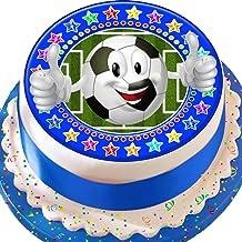 Cannellio Cakes Football Emoji Blue Star Border 7.5 Inch Birthday Precut Edible Icing Cake Topper Decoration