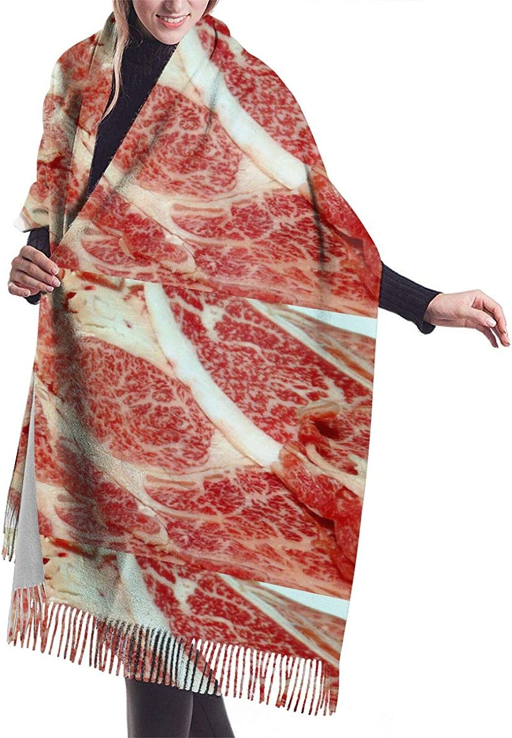 Meat Texture Pattern Cashmere Feel Scarf Lightweight Soft Scarfs For Boys Girls Creative Warm Cold Weather Blanket Scarf