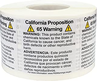 California Proposition 65 Warning Labels Short Form 1 1/2 x 1 1/2 Inch Square 500 Adhesive Stickers