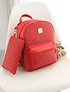 Korean Style 2 Pieces Backpack Set for Women and Girls - Red