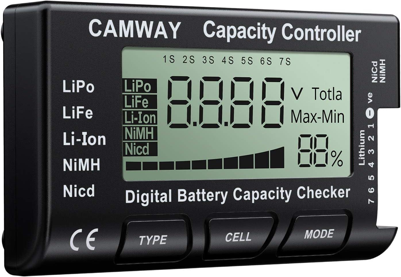 CAMWAY Digital Battery Capacity Tester RC Cellmeter Lipo Battery Tester LCD Battery Checker Controller for LiPo Life Li-ion NiMH Nicd LiFePO4