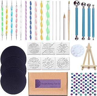 EWONICE Professional Mandala Dotting Tools Set with 3 Cardboards - 32PCs Kits Include 6 Stencil Templates, Mini Easel, Pai...