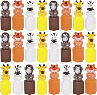 Kicko - 3 Inch Zoo Animal Bubble Bottle - 24 Pieces of Assorted Jungle Figure Blob Holders - for Novelty Toys, Baby Showe...