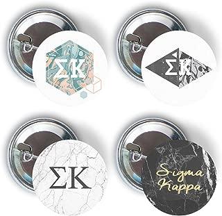 Sigma Kappa Sorority Marble Variety Pack of Buttons Pin Back Badge 2.25-inch Sig Kap - Marble Pack