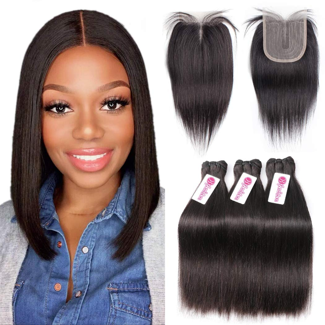 Straight Bundles with Closure Hair Brazilian Direct stock Excellence discount Human