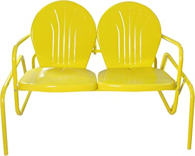 Northlight 47-Inch Outdoor Retro Tulip Double Glider Chair, Yellow