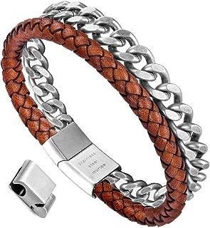 murtoo Mens Bracelet Leather and Steel, Stainless Steel...