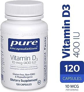 Pure Encapsulations - Vitamin D3 10 mcg (400 IU) - Hypoallergenic Support for Bone, Breast, Prostate, Cardiovascular, Colon and Immune Health* - 120 Capsules