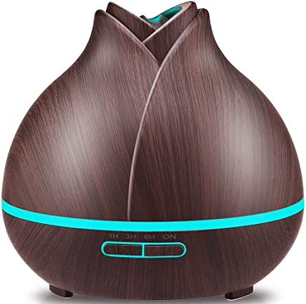 URPOWER 400ml Wood Grain Essential Oil Diffuser, Running 10+ Hours Aromatherapy Diffuser for Essential Oils with 2 Mist Modes, 4 Timer Setting, Whisper Quiet Humidifiers for Bedroom, Home, Office