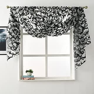 NAPEARL European Style Jacquard Sheer Curtain Panel Organza Fabric Window Scarf Valance (2 Panels: Each 52