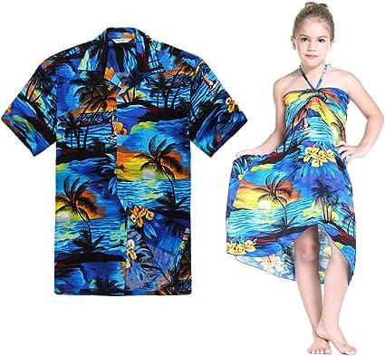 Combinación Hawaiana Luau Outfit Hombre Camisa Chica Vestido en Puesta de Sol Azul