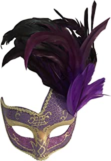 Sheliky Costume Mask Feather Masquerade Mask Halloween Mardi Gras Cosplay Party Masque (Purple)