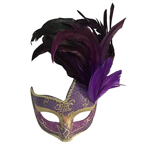 5cf82f5cb35 Sheliky Costume Mask Feather Masquerade Mask Halloween Mardi Gras Cosplay  Party Masque (Purple)
