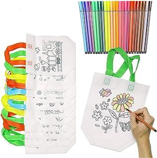 KATELUO Graffiti tygväska, gör-det-själv barnfestväska, lunchväska, 12 st icke-vävda presentpåsar för barn med 24-pack gra...