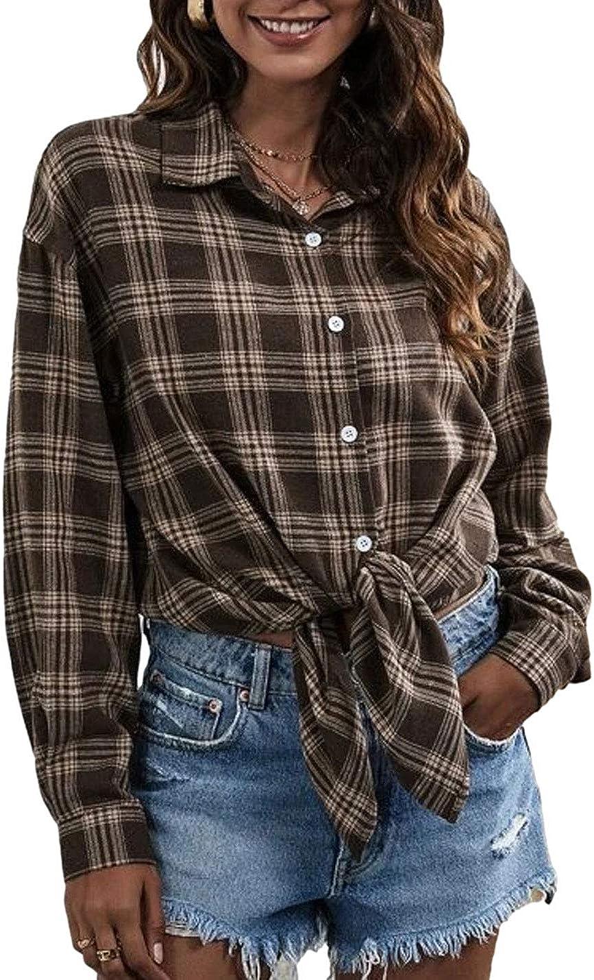 Laobee Women's Button Down Long Sleeve Loose Summer Plaid Flannel Shirt Blouse Top
