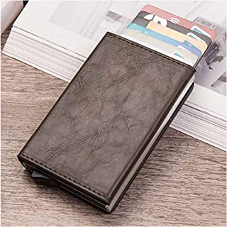 Vintage Pu Leather Coin Purses Magnetic Closing Card Case Casual Men Wallet Rfid Blocking Card Wallet