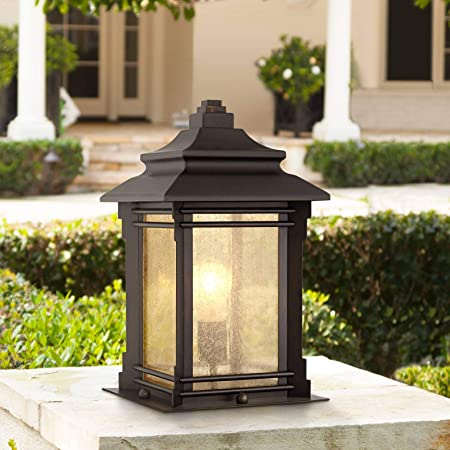 """Hickory Point Asian Outdoor Light Fixture Bronze 16.5"""" Textured Glass for Exterior House Porch Patio - Franklin Iron Works"""