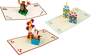 3D Birthday Cards – 3-Pack Birthday Popup Cards, Happy Birthday 3D Pop Up Greeting Cards with Cute Animals Theme, Bear, Horse, and Owls - Includes Envelopes, 4.75 x 4.75 Inches