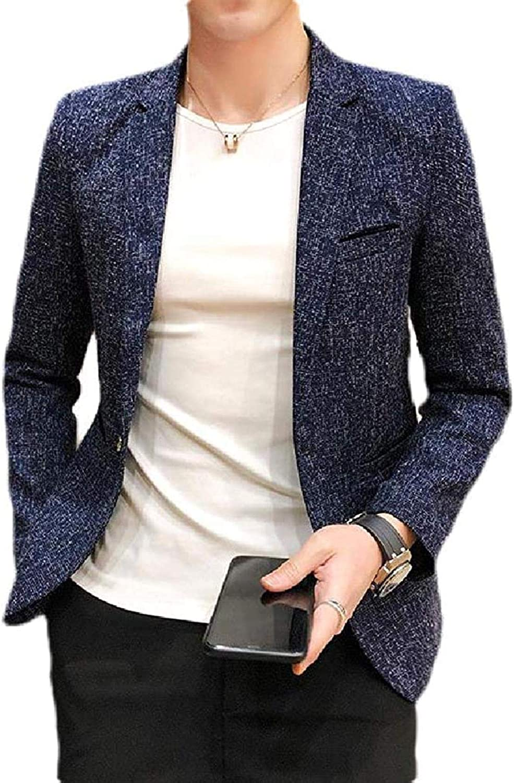 Men's Notch Lapel Solid Color Dinner Slim Fit One Button Sport Coat Blazer Jacket