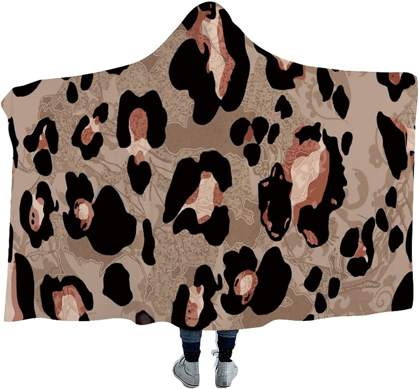 Wearable NEW Blanket 5 ☆ popular Leopard Print Brown Quil Plush Cloak Warm Throw