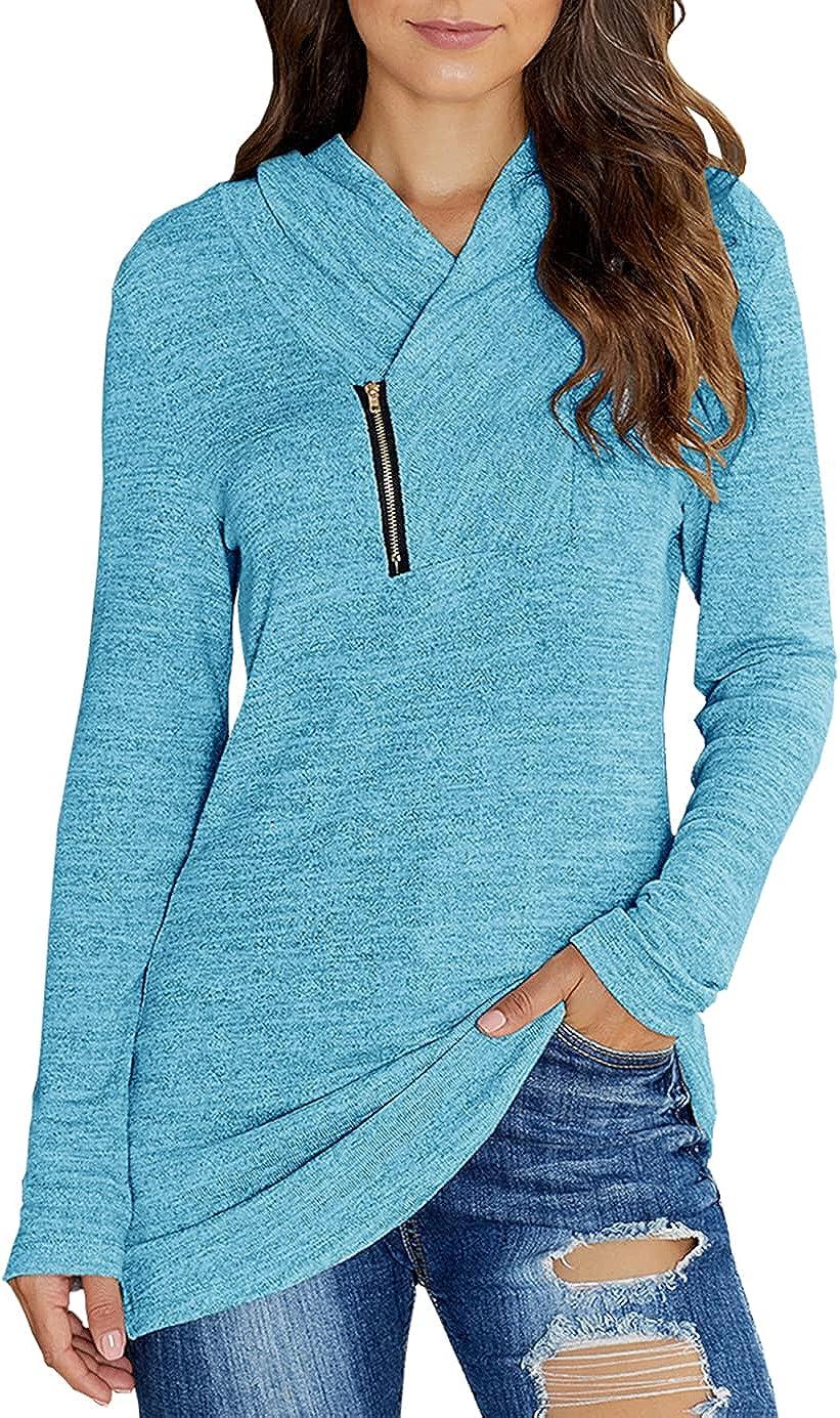 KIRUNDO 2021 Women's Sweatshirts Long Sleeve Pullover Zipper Cowl Neck Solid Color Sweatshirt Jumper Tunic Tops