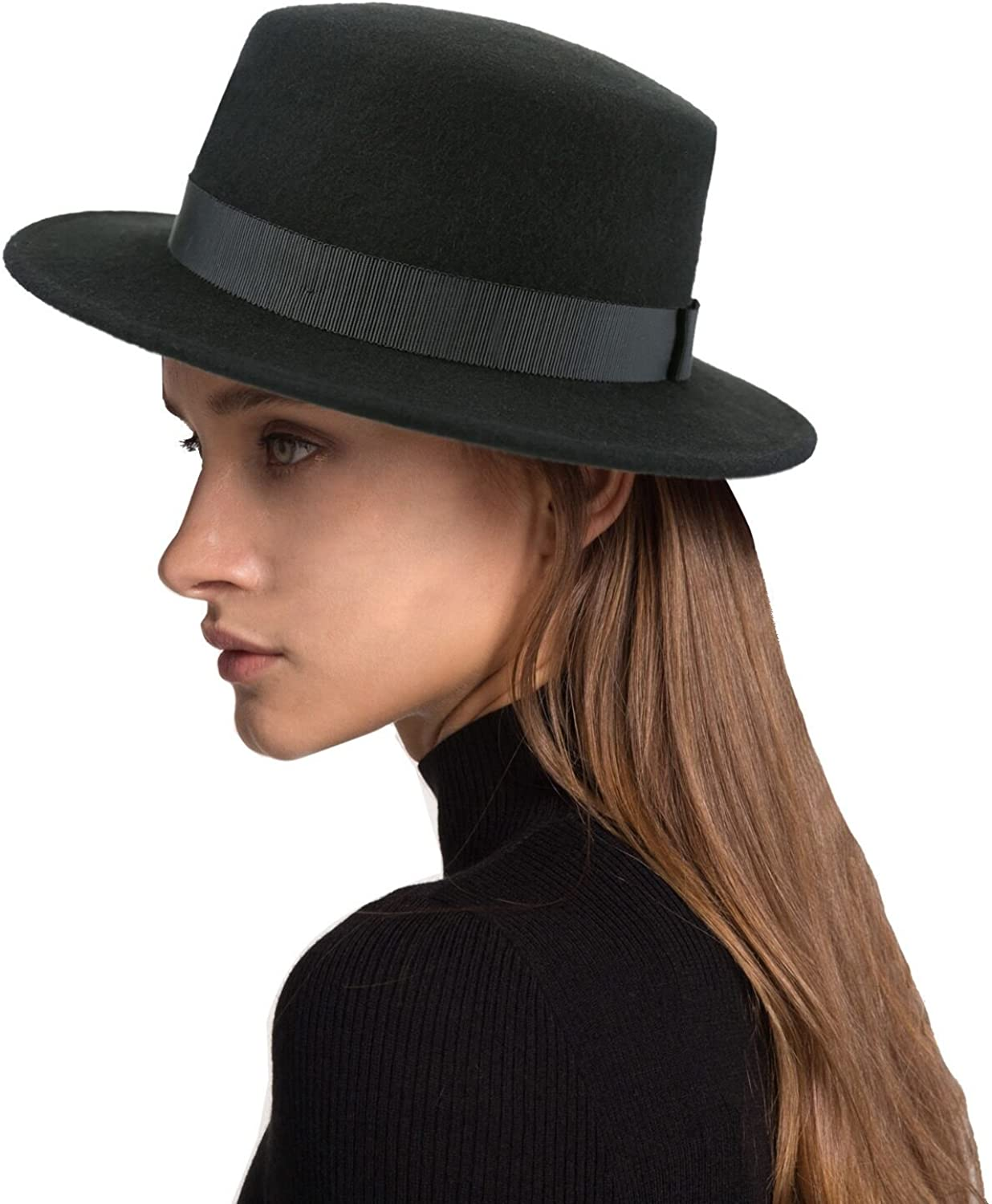 Deevoov Boater Hat Women Wool Felt Flat Top Hat Party Church Bowknot Derby Trilby Hats, Black, 57CM 22.44