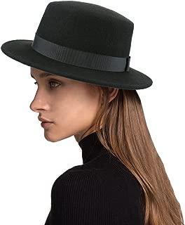 Boater Hat Women Wool Felt Flat Top Hat Party Church Bowknot Derby Trilby Hats, Black, 57CM/22.44