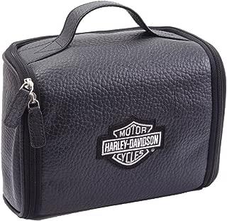 Harley Davidson Men's Leather Hanging Toiletry Kit, Black