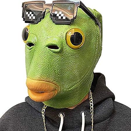 Molezu ハロウィンコスチューム フィッシュヘッドパーティマスク グリーン 大人用 動物 コスプレ 小道具 ラテックス マスク