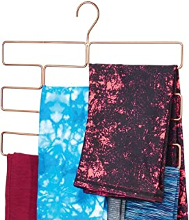 mDesign Modern Metal Closet Rod Hanging Accessory Storage Organizer Rack for Scarves, Ties, Yoga Pants, Leggings, Tank Tops - Snag Free, Geometric Design, 8 Sections - Rose Gold