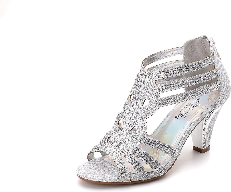 Ashley A Women's Lexie Crystal Dress Heels Low Heels Wedding shoes KINI25