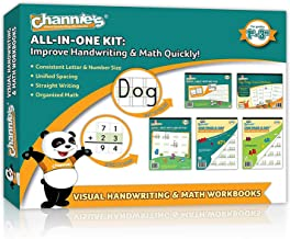 """Back to school complete set 5 Pack Channie's Visual Math, Handwriting, and Cursive Grades 1st – 3rd, Size 8.5"""" x 11"""" With FREE Alphabet Card"""