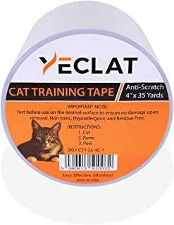 Yeclat Cat Tape for Protecting Furniture from Scratches and Claws While Training - Hypoallergenic and Residue Free Double Sided Cat Scratch Tape 4 Inches by 35 Yards with a Free Measuring Tape