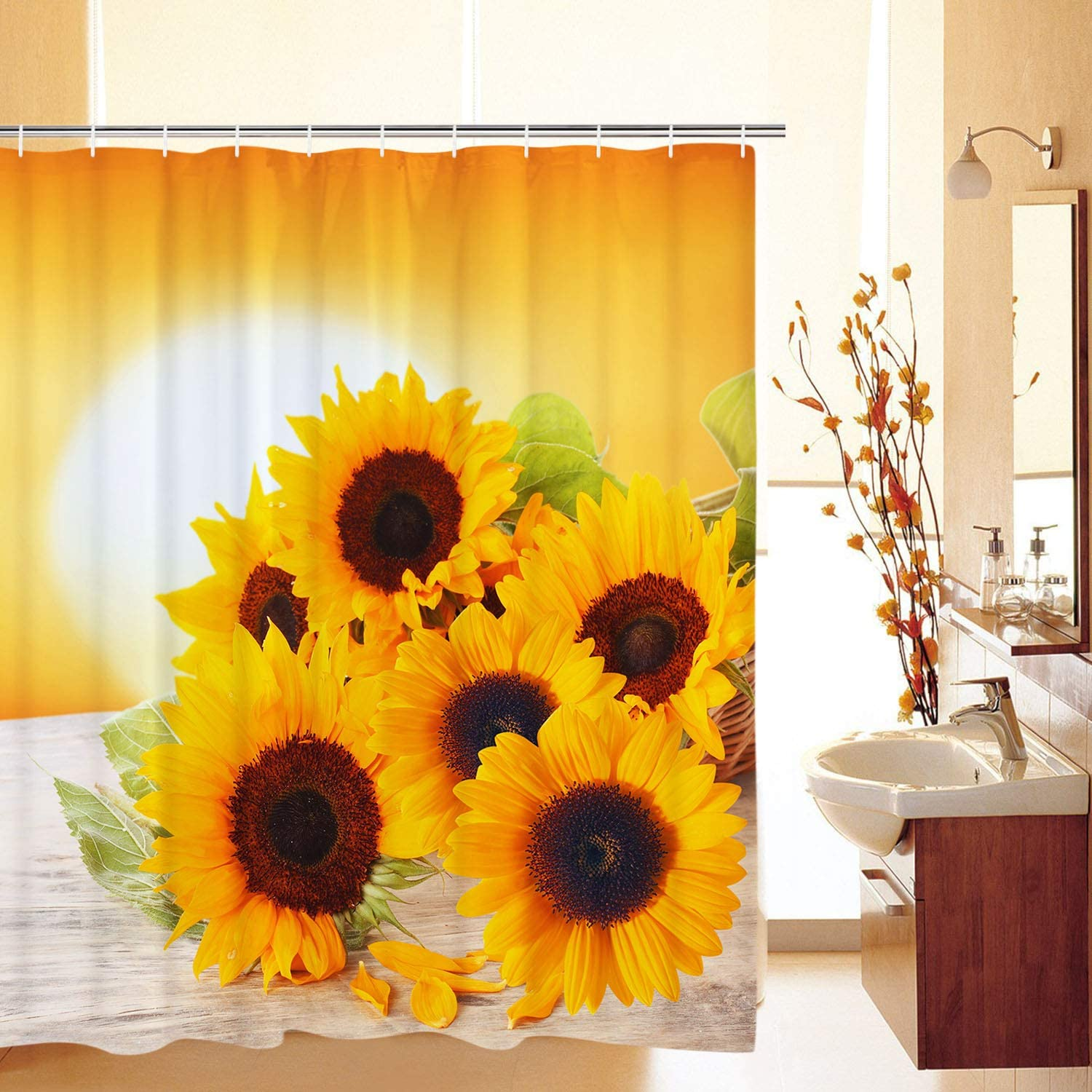 Likiyol Limited time cheap sale 40% OFF Cheap Sale Bathroom Shower Curtain The Sunset Sunflowers in