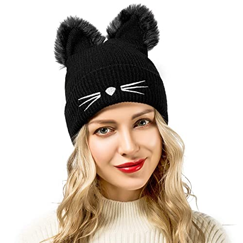 7eb98f4f335 Flowomen Winter Hats for Women Cute Cat Ear Hat with Embroidered Warm Knit  Crochet Women s Slouchy