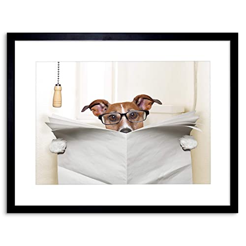 Wee Blue Coo Photo Mock Jack Russell Toilet Reading Newspaper Framed Wall  Art Print