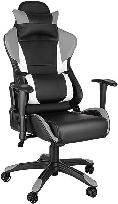 TecTake Silla de Oficina ergonomica Racing Gaming con Soporte Lumbar (Negro-Gris-Blanco
