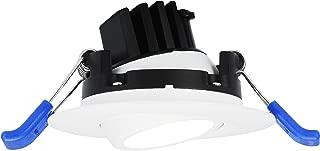 Lotus LED Lights 2'' LED Round Gimbal Down light White Trim 400 Lumens 3000K, 5W