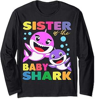 Sister Of The Baby Shark Birthday Sister Shark Shirt Manche Longue