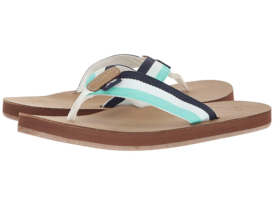 Vineyard Vines Leather Grosgrain Flip-Flops (Capri Blue) Men